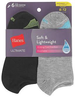 Hanes 6 Pair No Show Socks Womens
