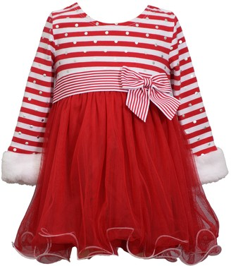 Bonnie Jean Toddler Girl Long Sleeve Stripe Knit Dress with Faux Fur Cuffs