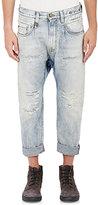 R 13 Men's Rudies Distressed Crop Jeans-Blue Size 28