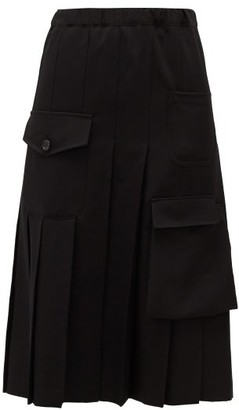 Comme des Garcons Cargo-pocket Wool Pleated Skirt - Womens - Black