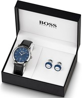 BOSS Boss Blue Sunray Date Dial Black Leather Strap Mens Watch and Cufflink Gift Set