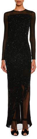 Tom Ford Sequined Velvet Long-Sleeve Gown