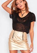 Missy Empire Meghan Metallic Gold Faux Leather Mini Skirt
