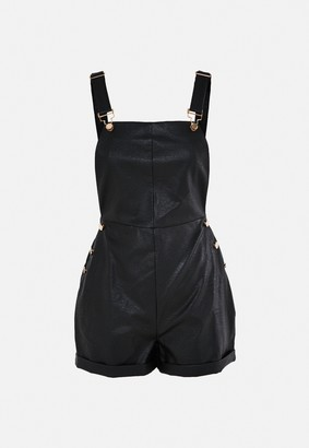 Missguided Black Faux Leather Dungaree Playsuit