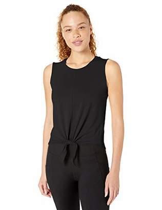 Core 10 Soft Pima Cotton Stretch Yoga Front-tie Sleeveless Tank Shirt,S (4-6)