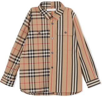 BURBERRY KIDS Panelled Vintage Check And Iron Stripe Shirt