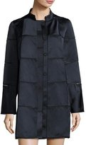 Zac Posen Windowpane Stand-Collar Coat, Midnight/Black