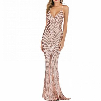 TOYIS Womens Evening Sequin Dress Vintage Spaghetti Strap Prom Dresses Backless Long Party Evening Maxi Dresses (Black Gold S)