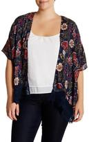 Angie Floral Lace Trim Kimono (Plus Size)