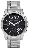 Armani Exchange Mens Round Silver Stainless Steel Chronograph Watch