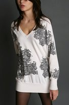 Printed Lace V Neck Tunic