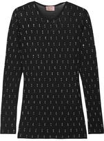 Lanvin Embellished Stretch-mesh Top - Black