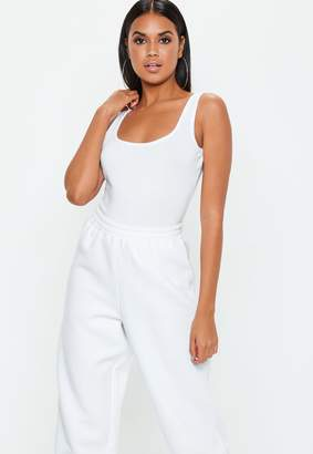 Missguided Petite White Square Neck Cotton Jersey Bodysuit