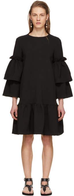 Edit Black Tiered Sleeve Full Peplum Dress