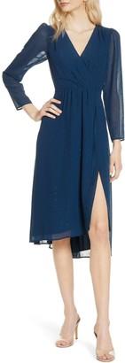 Ali & Jay Topanga Beach Long Sleeve Clip-Dot Chiffon Midi Dress