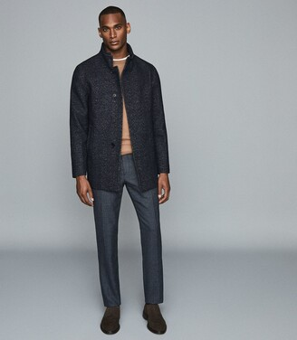 Reiss Leonardo - Wool Blend Mid Length Coat in Navy