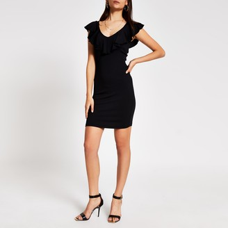 River Island Womens Black V frill neck mini bodycon dress