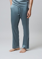 Meng MENG Men S Silver Silk Satin Pajama Bottoms