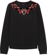 Just Cavalli Velvet-Paneled Appliquéd Cotton-Blend Sweatshirt