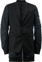 Juun.J contrast panel blazer - men - Polyester/Polyurethane/Viscose/Wool - 48