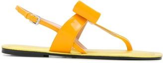 Pollini Bow Detail Flat Sandals
