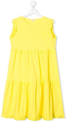 Il Gufo Sleeveless Ruffled Trim Dress