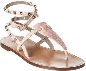 Valentino Rockstud Grainy Leather Sandal