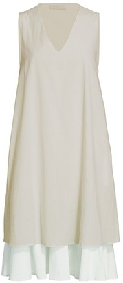 Fabiana Filippi Tiered Skirt Linen Blend Shift Dress