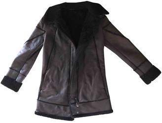 Bottega Veneta Burgundy Shearling Leather Jacket for Women