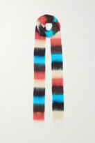 Thumbnail for your product : Loewe Leather-trimmed Fringed Striped Mohair-blend Scarf - Blue