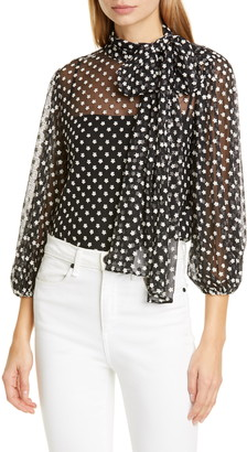 RED Valentino Embroidered Tulle Tie Neck Blouse