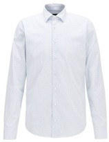 BOSS Slim-fit shirt in cotton with patchwork micro-prints
