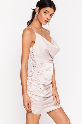 Nasty Gal Womens Toxic Cowl Ruched Mini Dress - Off White