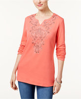 Karen Scott Studded Split-Neck Top, Only at Macy's