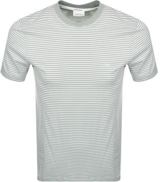 Calvin Klein Small Stripe Logo T Shirt Green