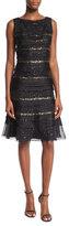 Carolina Herrera Sequin-Striped Tiered Cocktail Dress, Black