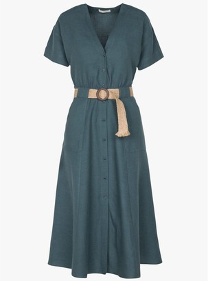 Sessun Cala Rafia Dress In Indian Teal - XS