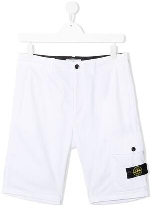 Stone Island Junior Logo-Patch Cargo Shorts