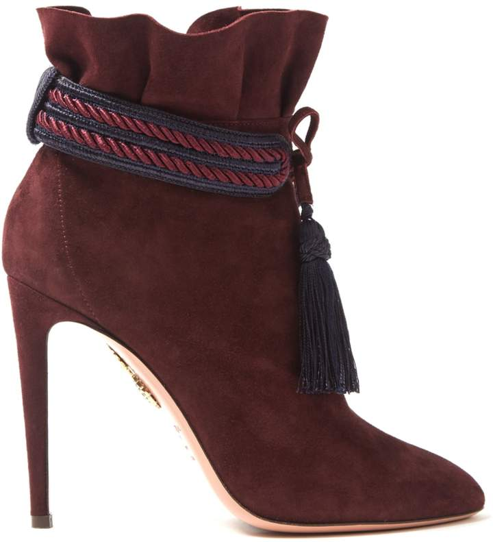 Aquazzura Shanty 110 suede tassel-trimmed ankle boots