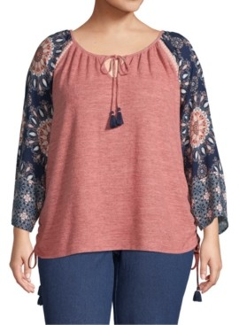 John Paul Richard Plus Size Printed-Sleeve Peasant Top