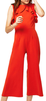Warehouse Open Back Frill Jumpsuit, Bright Red