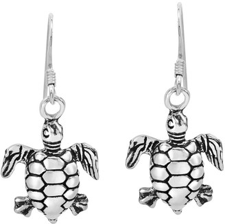 Aeravida Handmade Charming Ocean Travelers Sea Turtle .925 Sterling Silver Dangle Earrings