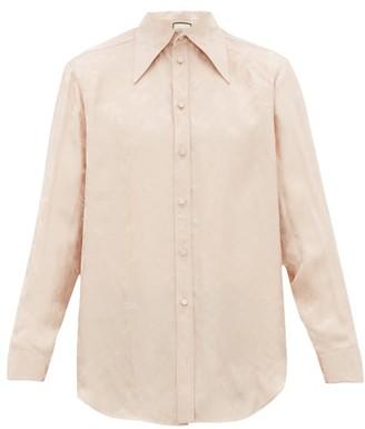 Gucci Floral Gg-jacquard Satin-faille Shirt - Mens - Pink