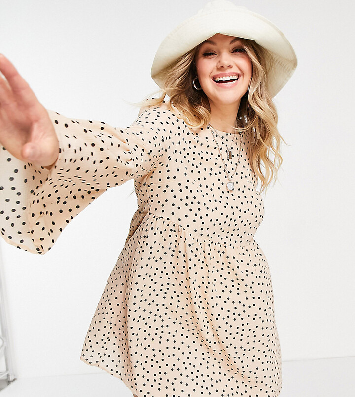 ASOS DESIGN Curve fluted sleeve smock mini dress in stone black spot