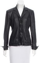 Elie Tahari Slit-Accented Leather Jacket
