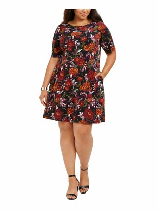 Connected Apparel Womens Black Floral Short Sleeve Jewel Neck Above The Knee Fit + Flare Dress Plus US Size: 24W