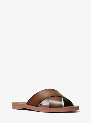 Michael Kors Glenda Burnished Leather Slide Sandal