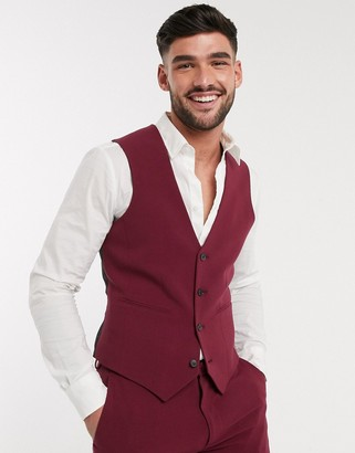 ASOS DESIGN super skinny suit waistcoat in burgundy in four way stretch