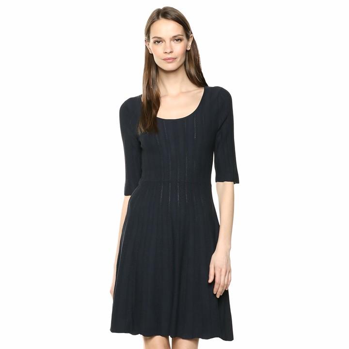 Size Large Lark /& Ro Women/'s Stretch Woven Half Sleeve Black Brand