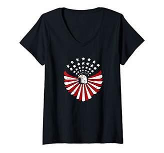 Womens American Bald Eagle USA Vintage Flag Patriotic V-Neck T-Shirt